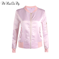 DeRuiLaDy Women Fashion Long Sleeve Zipper Bomber Jacket 2017 Autumn Winter Casual Womens Jackets And Coats