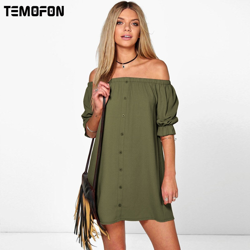 TEMOFON Women Summer Dresses Casual Party Beach Dress Sexy Strapless Woman Dress Solid Plus Size ...