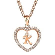 e0d7878532c2 Romántico oro Color Cubic Zirconia amor corazón cristal colgante nombre  collar carta encanto mujeres 26 mayúsculas Choker joyerí.