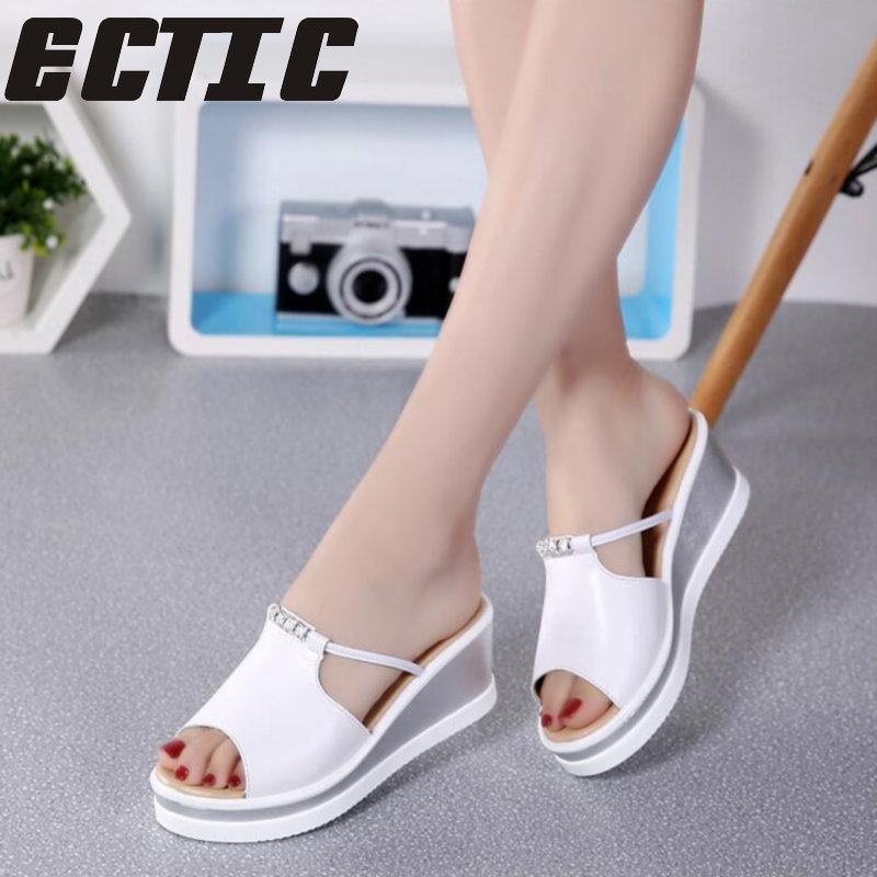 ECTIC 2018 Summer women flat platform slippers slides sandals Shoes slip on Open Toe white genuine leather wedge sandals YY-08 candy color genuine leather vintage style women casual sandals 2017 designer open toe platform wedge handmade summer shoes