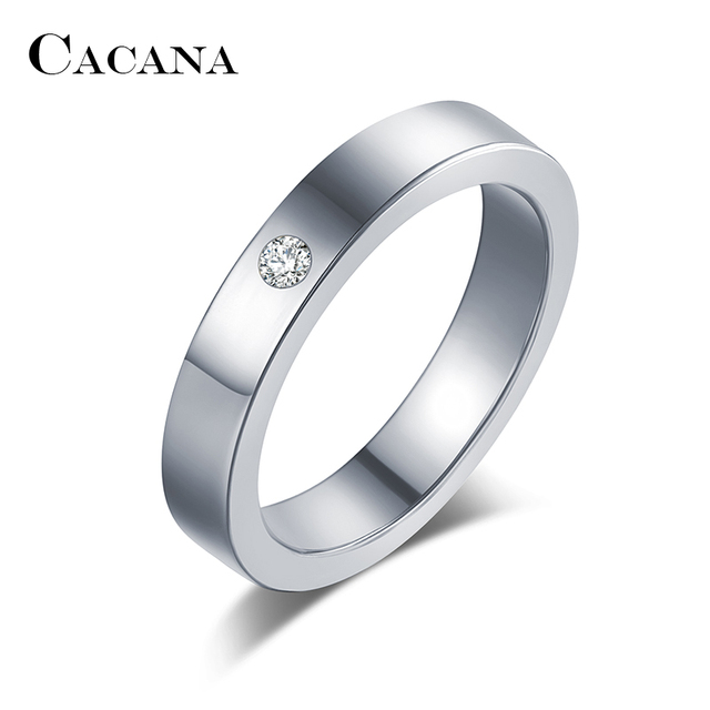 Купить кольца cacana из нержавеющей стали для женщин простой фианит