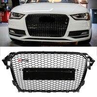 RS4 Стиль спереди Спорт Шестигранная сетка соты капот Гриль черный глянец для Audi A4/S4 B8.5 2013 2014 2015 2016 автомобильные аксессуары