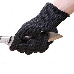 ZK20 Dropshipping 1/Paar Schwarz Arbeits Sicherheit Handschuhe Cut-Resistant Protective Edelstahl Draht Metzger Anti-Schneiden handschuhe
