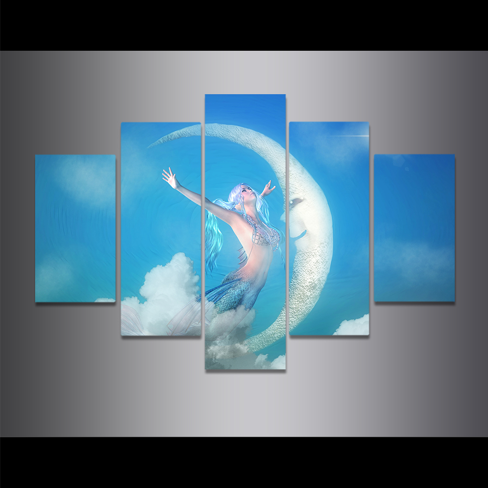 Unframed Canvas Painting Mermaid Blue Sky Half month Art Picture Prints Wall Picture For Living Room Wall Art Decoration