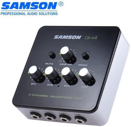 Samson QH4 Ultra compact 4 Channel Mini Audio Stereo DJ Monitoring Headphone Amplifier Amp with Power