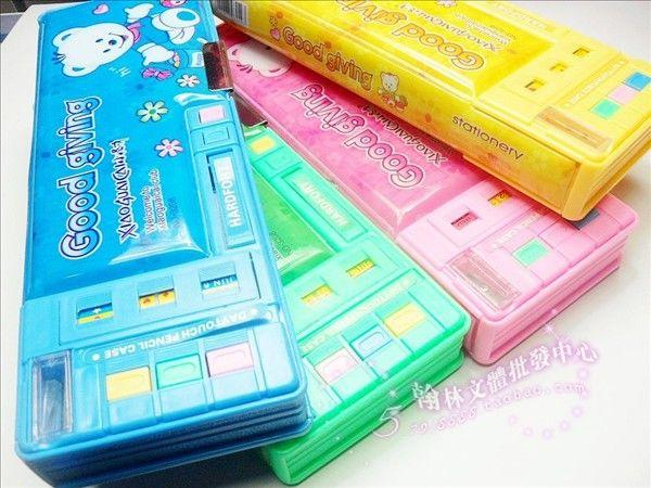 Multifunctional stationery box double faced automatic plastic pencil box все цены