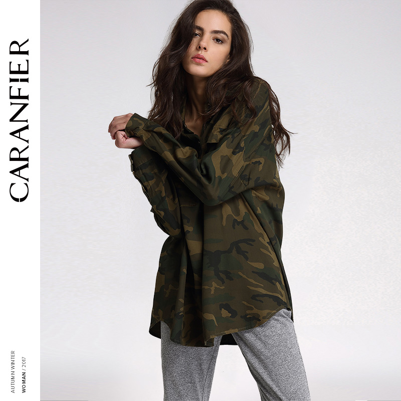 CARANFIER 2017 Fashion Women Loose Camouflage Coats Stand Collar Pocket Long Sleeve Button Sweat Breathable Outwear   basic     Jacket