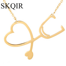 SKQIR Fashion Body Medical Stainless Steel Love Charm Pendants Necklaces For Women Men Jewelry Gold/Silver Color Choker Necklace