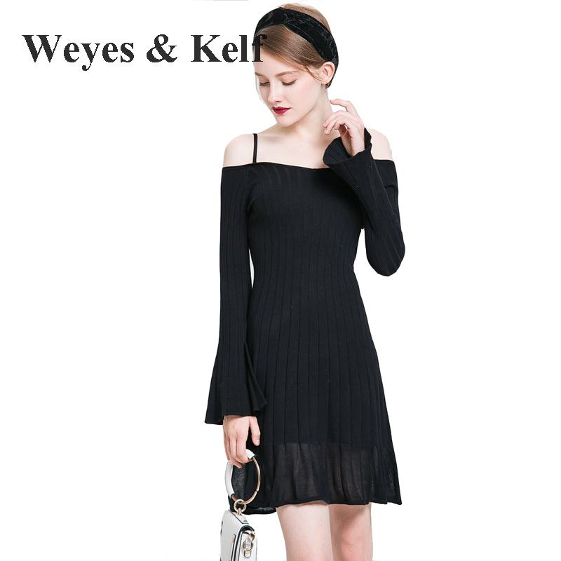 Weyes & Kelf Casual Spring And Summer Off Shoulder knitted Dress Women 2018 Long Flare Sleeve Solid Reffles Dress Women Femme free shipping 2017 new fashion long spring and summer bell bottom jeans boot cut women slim long trousers lacing up flare pants