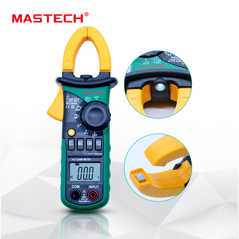 MASTECH MS2008A Digital Clamp Meter Auto Range Clamp Meter Amperemeter Voltmeter Ohmmeter w/Lcd-hintergrundbeleuchtung Strom Spannung Tester
