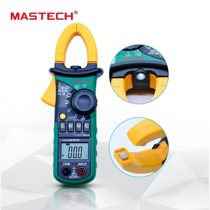 MASTECH MS2008A Digital Clamp Metros Auto Range Pinza Medidor Del Amperímetro Del Voltímetro Ohmmeter w/LCD Retroiluminación Actual Probador de Voltaje