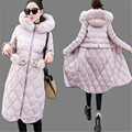 Korea Style 2017 New Winter Women Coat Warm  Large Fur Collar Medium Long Down Cotton Jacket Thick Hooded Winter Down Coat SK140