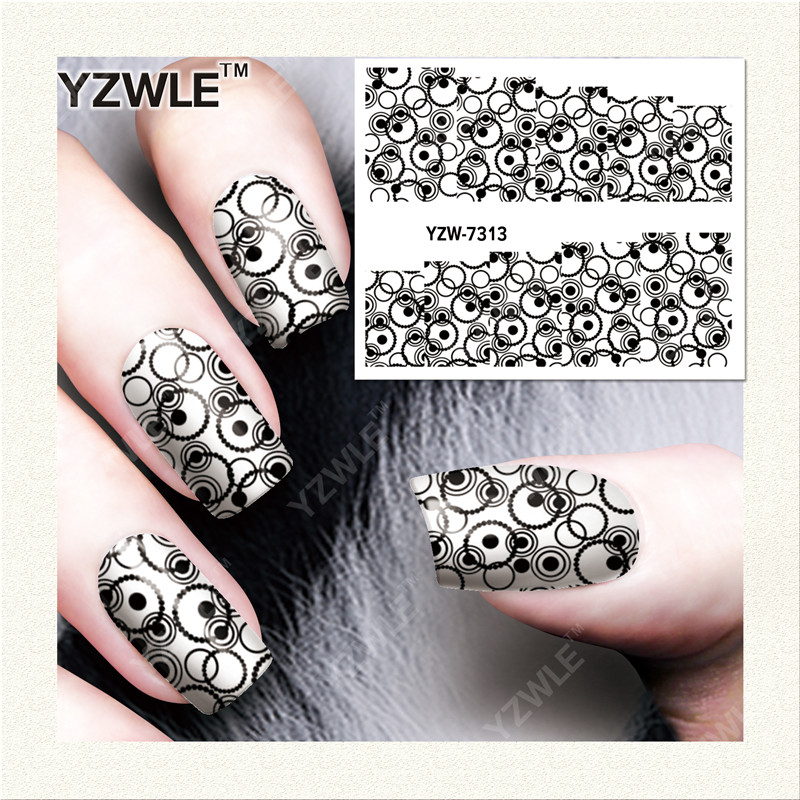 YZWLE 1 Sheet DIY Decals Nails Art Water Transfer Printing Stickers Accessories For Manicure Salon  YZW-7313 rock style noctilucence geometric heart shape flower tree pendant necklace