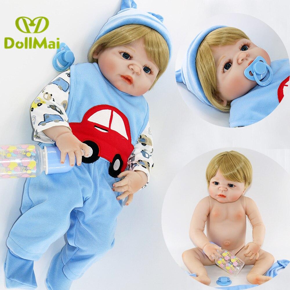 Bescheiden 57 Cm Volledige Siliconen Lichaam Reborn Baby Boy Doll Bebes Reborn Menino Bonecas In Leuke Blauwe Auto Kleding