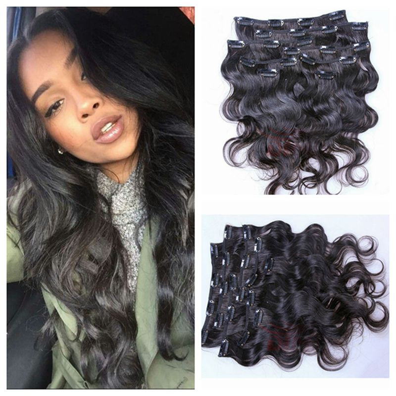 2016 Clip in Human In Hair Extensions Wavy Malaysian Virgin In Hair Clip Ins Body Wave Jet Black for Black Women Free Shipping