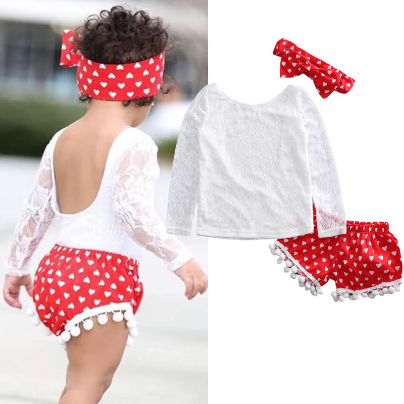 3pcs Kids Baby Clothes Girl Lace Floral Tops T shirt Pants Shorts Outfits Set Children Infant Girls Clothing 2017 cute kids girl clothing set off shoulder lace white t shirt tops denim pant jeans 2pcs children clothes 2 7y