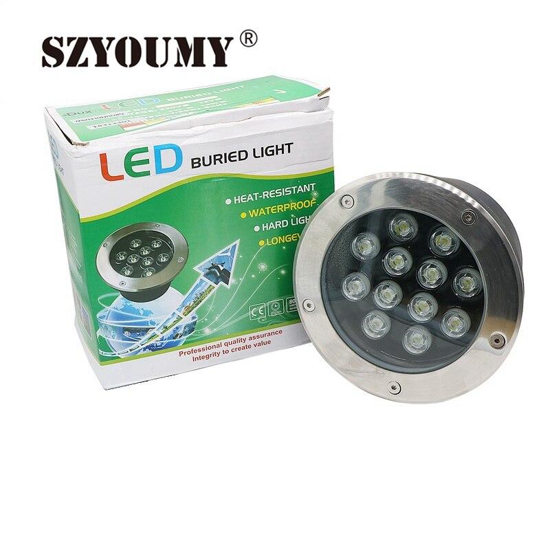 SZYOUMY New IP67 Waterproof AC 85 265V 12W LED Underground Light Inground Lamp Buried Lighting LED