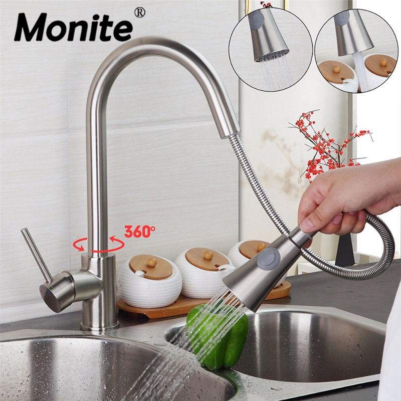 Nickel Brushed Brass Pull Out Spout Kitchen Faucet Tap Swivel Basin Sink Kitchen Hot And Cold Mixer Taps yanksmart brushed nickel swivel spout kitchen sink faucet pull out spray 8525 3 21 basin brass water tap sink faucet taps