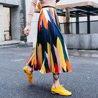 2019 New Designer Pleated Skirt Women's Party Long Colorful Stripped Elastic Waist Skirts Slim Geometric Ladies Skirts NS575