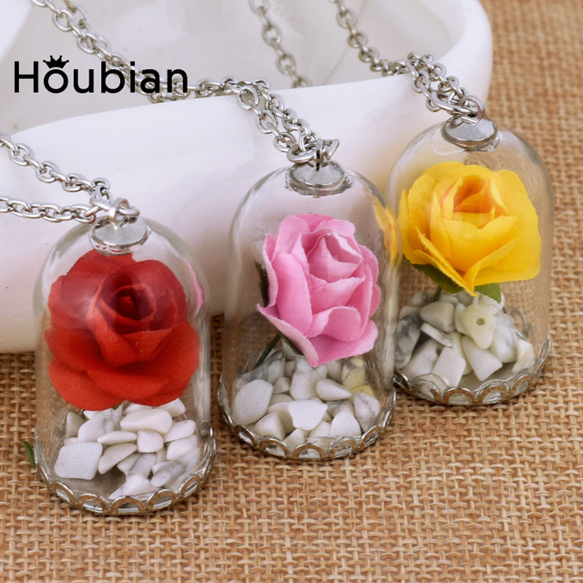 Houbian Glass Vial Dried Flower Pendant Necklace Beauty Red Roses Necklace for C