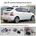 "For Hyundai Accent MC - Car Parking Sensors + Rear View Camera + 4.3"" LCD Screen = 3 in 1 Visual Alarm Parking System"