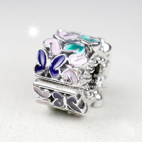 2019 Spring Release 925 Sterling Silver Butterfly Arrangement With Enamel Clip Charm Bead Fits European Pandora DIY Bracelets