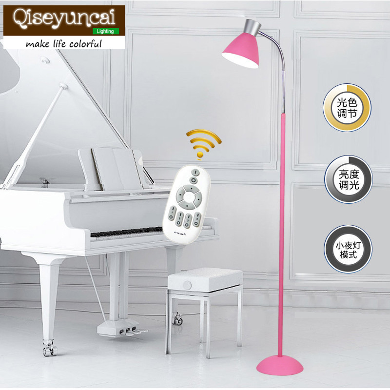 Qiseyuncai Nordic modern minimalist LED remote control light adjustable floor lamp living room bedroom study lamps and lanterns free shipping remote control colorful modern minimalist led pyramid light of decoration led night lamp for christmas gifts
