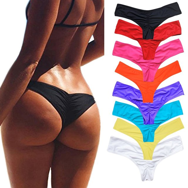 Pleated Back Solid Color Bikini Bottoms 1