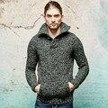 Мужская свитера бренд высокого высокое качество шерстяной пуловер новая осень зима сгущать теплый army green трикотажные свитера мужчины C49