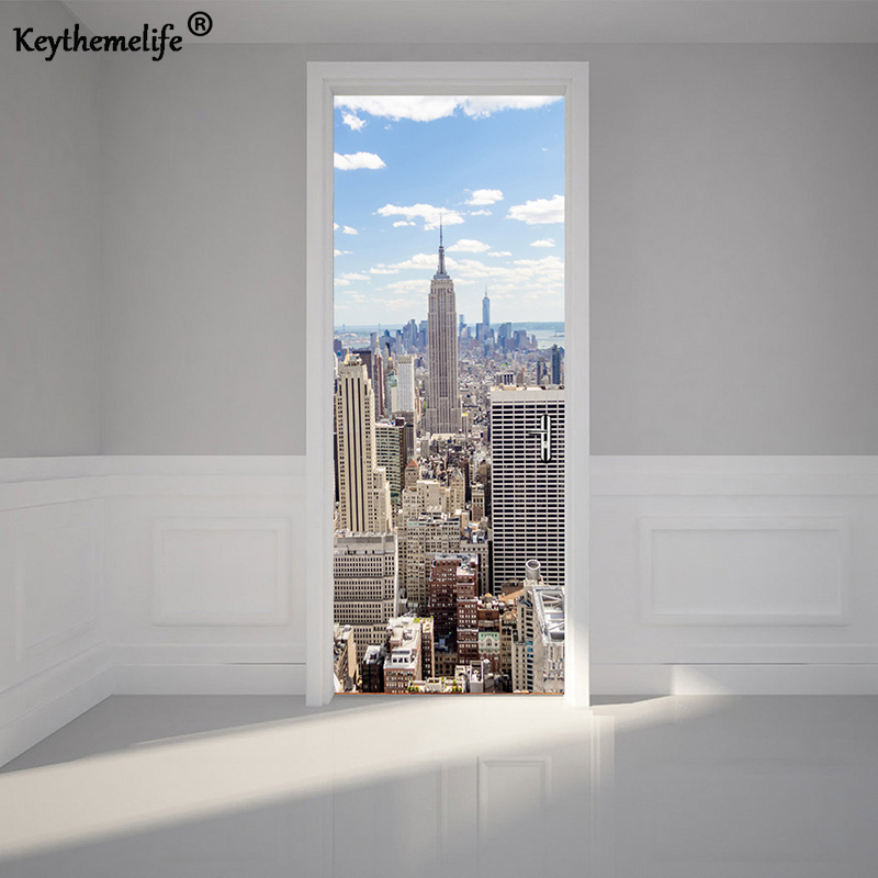 keythemelife 2 pcs set wall stickers diy mural poster new york manhattan pvc waterproof door. Black Bedroom Furniture Sets. Home Design Ideas