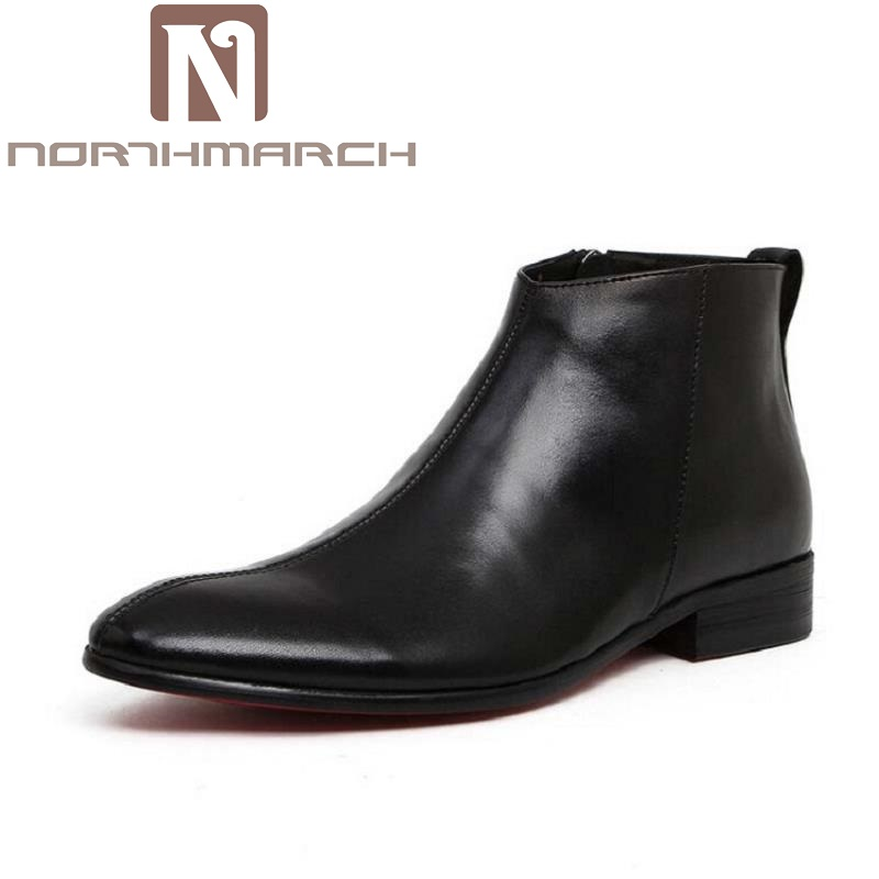 NORTHMARCH New Winter High Quality Genuine Leather Men Ankle Boots British Style Solid Black Lace-Up Pointed Toe Men Shoes