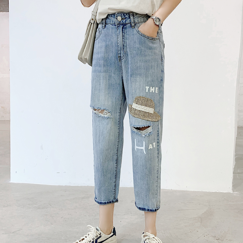 Vintage Embroidery Denim Jeans High Waist Ripped Hole Harem Jeans Woman Spring Summer Women plus size Jeans Pants(China)