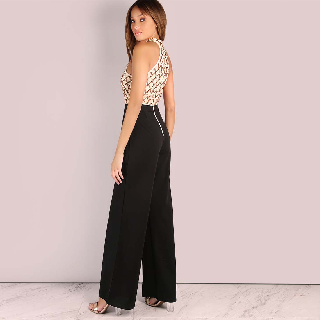 3b71f036c06 YJSFG HOUSE Women Sequin Patchwork Evening Party Jumpsuit Romper Sexy  Halter Sleeveless One Piece Bodysuit Summer Slim Overalls-in Jumpsuits from  Women s ...