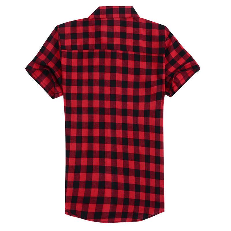 Puimentiua 夏ファッションターンダウン襟半袖メンズシャツカジュアル赤黒の格子縞のシャツ男性シャツカミーサ hombre 2018