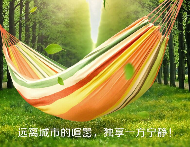 200X100cm Outdoor Multifunction hammock swing rainbow Striped canvas double indoor thickening widened dormitory double hammock rainbow striped dress
