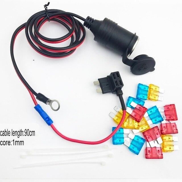 Jtron 1 m 1mm core Samochodowy gniazdo do zapalniczki DC12/24 v Rozszerzenie M/S/Mini Bezpiecznik Dotknij uchwyt Ołowiu z bezpiecznikiem zestaw