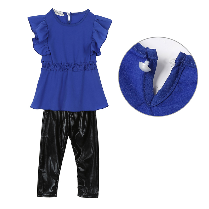 2018 Trendy Kid Girls Clothes Suit Blue Shirt Dress+Black Leggings Children Clothing Set New