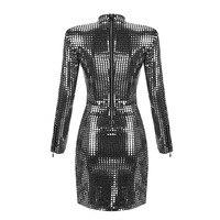 Новое женское серебристое платье с блестками, платье с длинным рукавом и сумочкой на бедрах для ночного клуба, Длинное Элегантное приталенное повседневное платье, женские платья 6