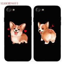 XIAOCHENGGUI Cute Corgi Case For Apple iPhone X XR XS MAX 11 pro max Sexy Cartoon Dog Ass Black soft silicone Phone Cover