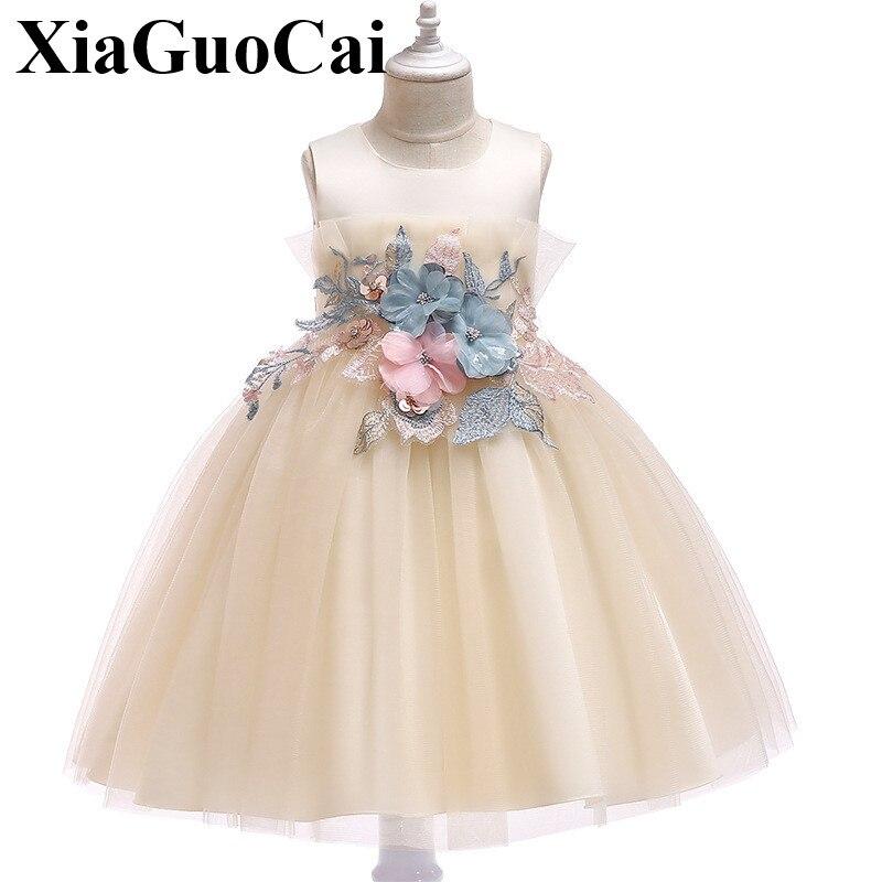 Bébé filles robe avec fleur broderie été fête de mariage enfants robes de princesse pour les filles en gros bébé filles vêtements