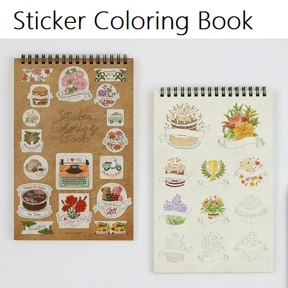 Wholesale Korea Retro DIY Coloring Sticker Book Setstudents Deco Labelstudent Tool School Office Use SuppliesH In Stationery From