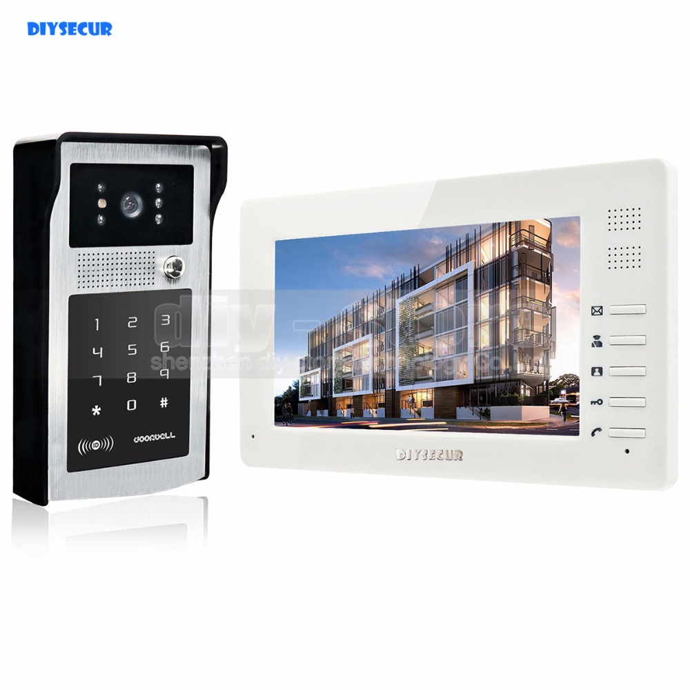 DIYSECUR 7 inch HD TFT Color LCD Monitor Video Door Phone Video Intercom Doorbell 300000 Pixels Night Vision Camera hot sale tft monitor lcd color 7 inch video door phone doorbell home security door intercom with night vision
