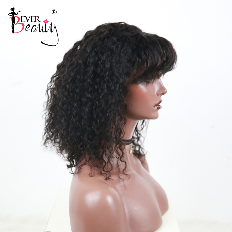Short Bob Human Hair Wigs With Bang Full Brazilian Glueless 13X6 Curly Lace Front Wig 150