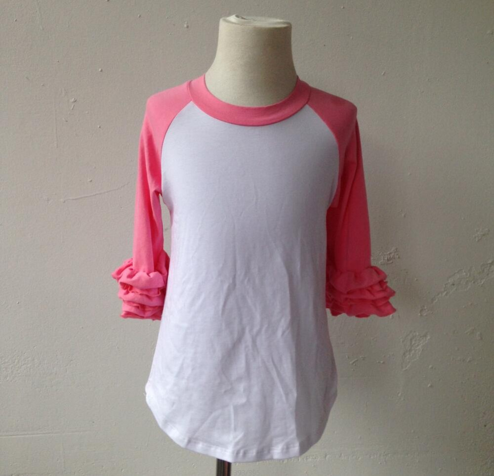 c554226c815 Wholesale Ruffle Raglan Plain Blank Icing Raglan Shirts-in Tees from Mother    Kids on Aliexpress.com