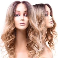 Silike Lace Front Wig Heat Resistant Blonde Ombre Dark Root Long Natural Body Synthetic Wave Wigs