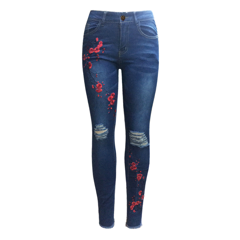 HeyGalSing  Embroidery Ripped Jeans Woman Mid Waist Knee Hole  Frayed Hem Skinny Jeans For Women  Femme Stretchy Denim Trousers