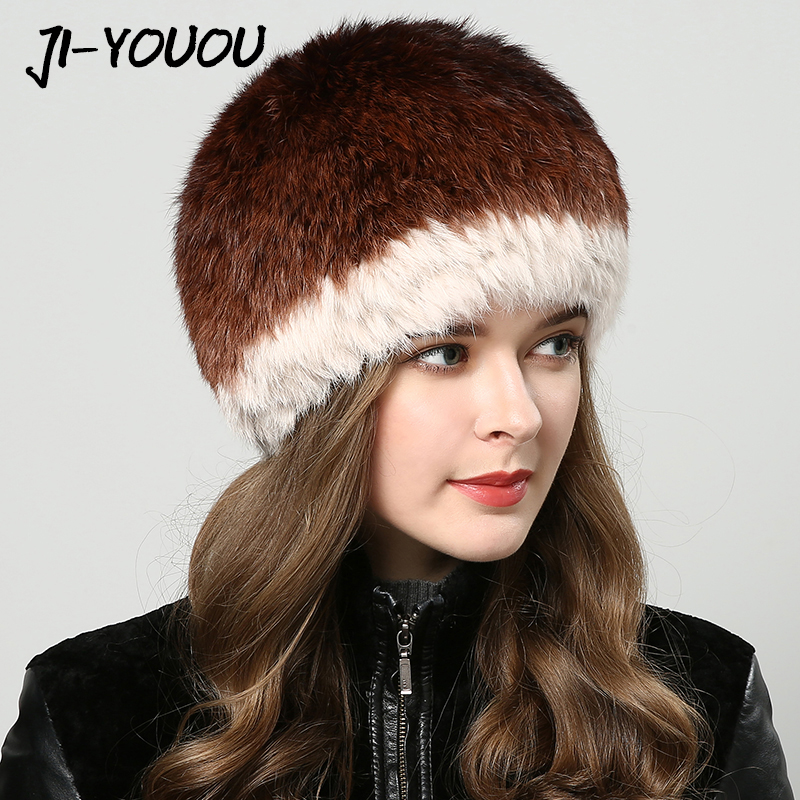 2017 winter fur ball hat Womens cap pompom fur hat mink fur hats Winter hats for women Double layer Balaclavas