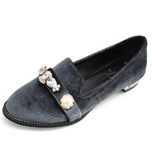 Lady Wedding Party Rhinestones Mary Janes Women Velvet Low Top Flats Oxfords Slip On Round Toe Loafers Casual Shoes Chic Shoes lily embroidery women loafers shoes chinese style old peking mary janes button strap casual flats plus 41 dance cloth shoes