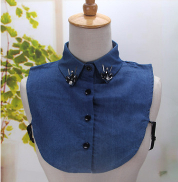 Denim Jeans Beading Womens Fake Collar Blue Shirt Detachable Shirt Sweater False Collars