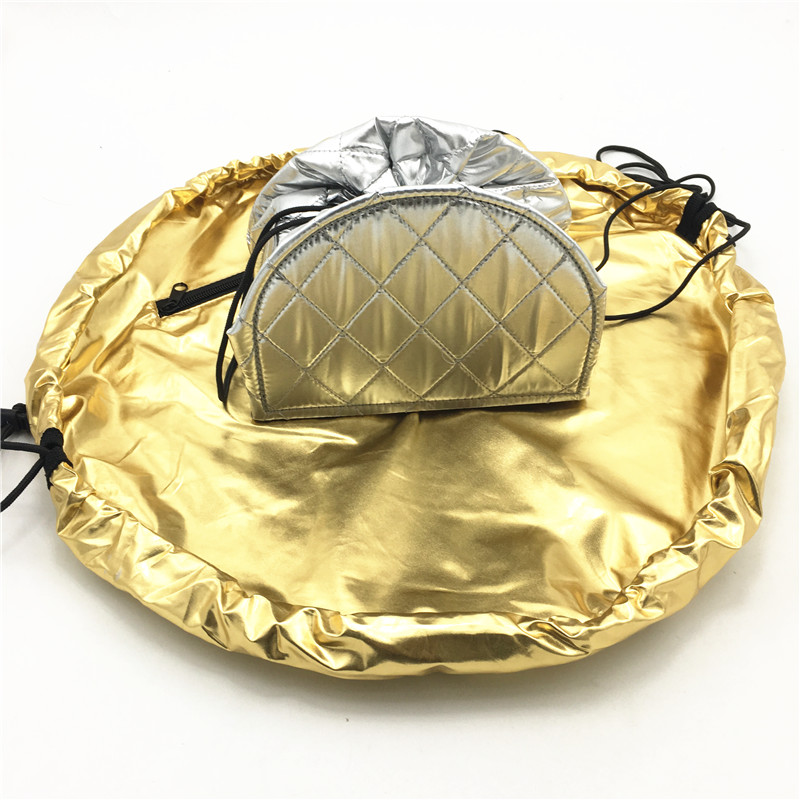 Gold/Silver magic cosmetic travel pouch PVC board support women cosmetic drawstring bag travel storage lady's string packing bag large capacity magic pouch with patterns women cosmetic drawstring bag travel storage lady s string makeup bag for toiletries